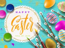 Pussy-willow branches, paint decorated multicolored eggs and paper frame with brush calligraphy. Easter greeting illustration. Pussy-willow branches, paint Royalty Free Stock Photos