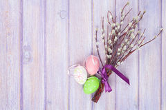 Pussy willow and easter eggs Royalty Free Stock Images