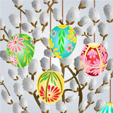 Pussy willow and easter eggs vector Stock Images