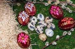 A pussy-Willow sprig and Easter egg. Royalty Free Stock Photos
