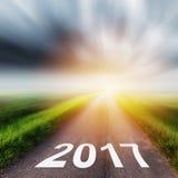 Pusta asfaltowa droga i nowego roku 2017 pojęcie Obraz Royalty Free