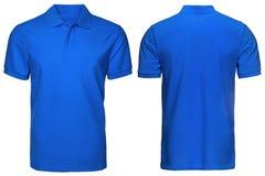 Pusta błękitna polo koszula, przód i tylny widok, odosobniony biały tło Projektuje koszula, szablon i mockup dla druku polo, zdjęcia stock