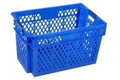 Pusta błękitna skrzynka, odizolowywająca na bielu Zdjęcie Stock
