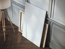 Pusta biała kanwa w szarym klasycznym wnętrzu Fotografia Royalty Free