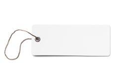 Pusta biała kartonowa metka lub etykietka odizolowywający Fotografia Stock