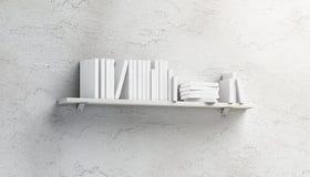 Pusta biała sterta książek mockups na półce wspinającej się obrazy royalty free