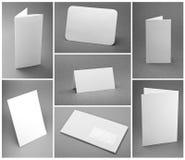 Pusta biała falcowanie papieru ulotka Zdjęcie Stock