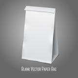 Pusta biała wektorowa realistyczna papierowa pakuje torba ilustracji