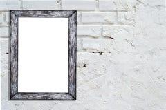 Pusta biel rama na ściana z cegieł tle z kopii przestrzenią Obrazy Royalty Free