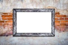 Pusta biel rama na rocznika ściana z cegieł tle Zdjęcie Stock