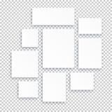 Pusta bielu 3d papieru kanwa lub fotografia obramiamy odosobnionego na przejrzystym tle royalty ilustracja