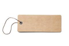 Pusta brown kartonowa metka lub etykietka z nicią odizolowywającą Zdjęcie Royalty Free