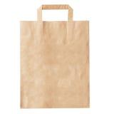 Pusta brown papierowa torba odizolowywająca na bielu Fotografia Stock