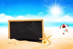 Pusta czerni deska na piasek plaży 002 Zdjęcia Royalty Free