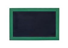 Pusta czerni deska z zieleni ramą na białym tle Zdjęcia Stock