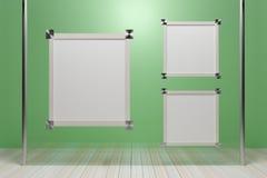 Pusta drewniana obrazek rama na szklanych ścianach - 3D odpłacają się wizerunek zdjęcie royalty free