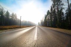 Pusta droga przy mgłą Zdjęcia Royalty Free