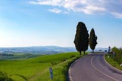Pusta droga przy Tuscany fotografia stock
