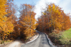 Pusta droga w jesień krajobrazie zdjęcia stock