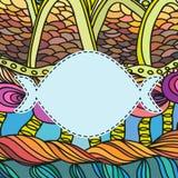Pusta etykietka na kolorowym falistym wzorze Zdjęcie Royalty Free