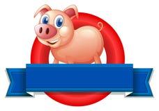 Pusta etykietka z świnią Fotografia Stock