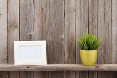 Pusta fotografii rama, roślina i Zdjęcie Stock