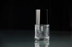 Pusta gwoździa połysku makeup butelka bez etykietki fotografia stock
