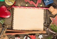 Pusta kartka bożonarodzeniowa z kopia rocznika i przestrzeni dekoracjami zdjęcie royalty free