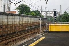 Pusta kolej blisko dworzec fotografii brać w Dżakarta Indonezja Zdjęcie Stock