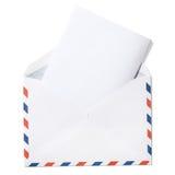 Pusta koperta z listu i ścinku ścieżką Fotografia Stock