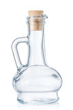 Pusta mała butelka dla oliwa z oliwek z korkowym stopper odizolowywającym na w Zdjęcia Stock