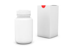 Pusta medycyny butelka z pudełkiem Zdjęcie Stock