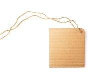 Pusta naturalna kartonowa etykietka na białym tle Obrazy Stock