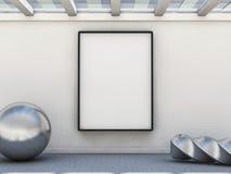 Pusta obrazek rama na ścianie, wyśmiewa up 3d Obraz Stock