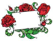 Pusta pastylka z różami Zdjęcia Royalty Free