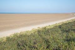 Pusta plaża tak daleko jak jeden może widzieć Obrazy Stock