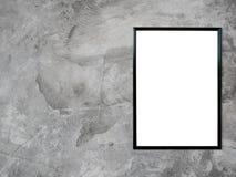 Pusta plakatowa fotografii rama na cement ścianie Fotografia Royalty Free