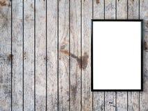 Pusta plakatowa fotografii rama na drewno ścianie Fotografia Stock