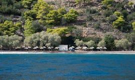 Pusta playa plaża na greckiej wyspie obraz stock