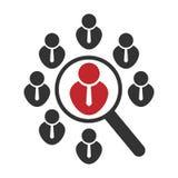 Pusta pozycji ikona, gmeranie dla pracy lub pracownika lub Rewizj ludzie Wektorowy pojęcie piktograma magnifier royalty ilustracja