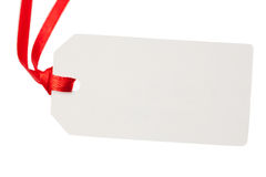 Pusta prezent etykietka z czerwonym faborkiem Obrazy Royalty Free