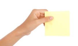 pusta ręki mienia notatka Zdjęcia Royalty Free