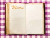 Pusta rocznika menu książka Obraz Royalty Free