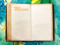 Pusta rocznika menu książka Fotografia Royalty Free