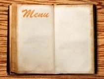Pusta rocznika menu książka Obrazy Stock
