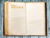 Pusta rocznika menu książka Zdjęcie Royalty Free