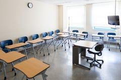 Pusta sala lekcyjna w nowożytnym KLI Yonsei uniwersyteta Koreańska Językowa szkoła w pełni wyposażająca dla wysoki standard eduka zdjęcia stock