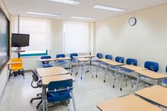 Pusta sala lekcyjna w nowożytnym KLI Yonsei uniwersyteta szkoła w pełni wyposażająca dla wysoki standard edukaci obrazy stock