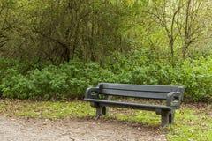 Pusta stara ławka w poroślu las Zdjęcia Royalty Free