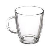 Pusta szklana filiżanka herbata z rękojeścią odizolowywającą Obraz Stock